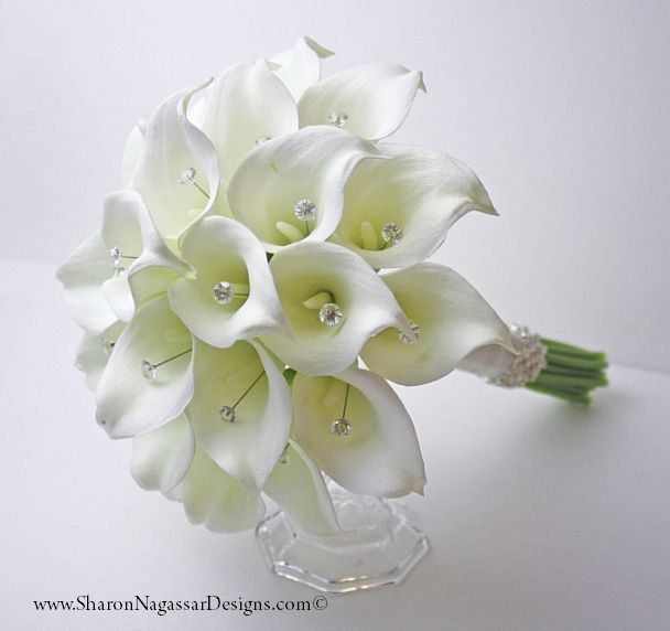8b6ae13de31c8e White/off-white/ivory, calla lilies/lily, bouquet, crystal gems, Real Touch  flowers, silk, wedding, bridal, Bride Groom set by SharonNagassarDesign on  Etsy