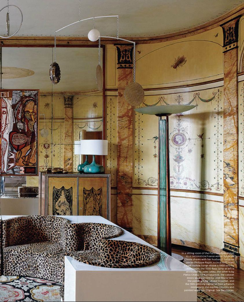 Turn of the century furniture - This Amazing Home In Paris With Its Turn Of The Century Painted Walls And 1960 S Furniture