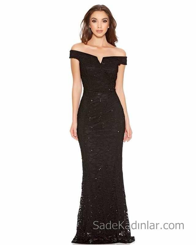 Siyah Gece Elbisesi Omzu Acik Uzun Abiye Modelleri Parlak Dantel Detayli The Dress Maksi Elbiseler Nedime Giysileri