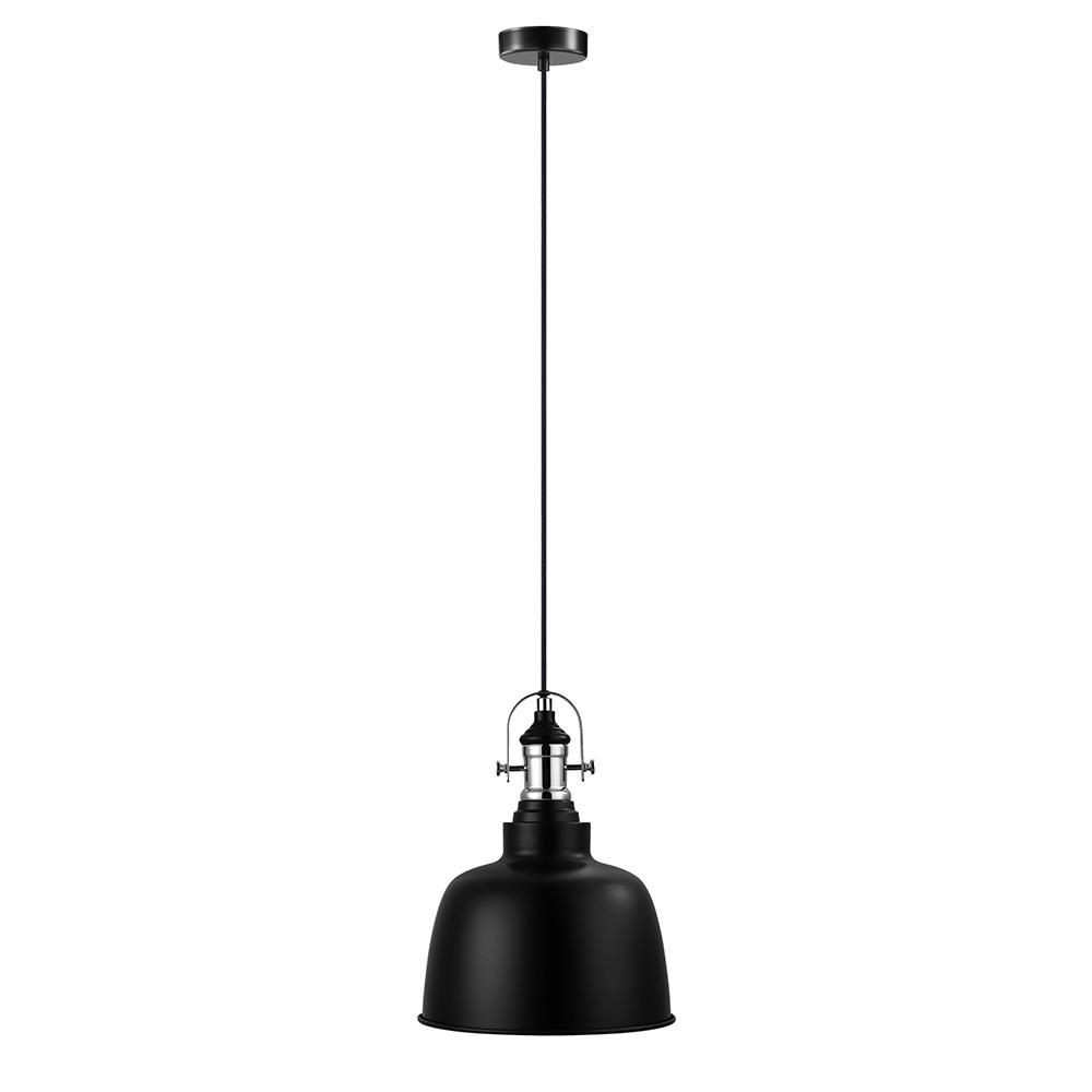Eglo Gilwell 1 Light Matte Black And Chrome Pendant