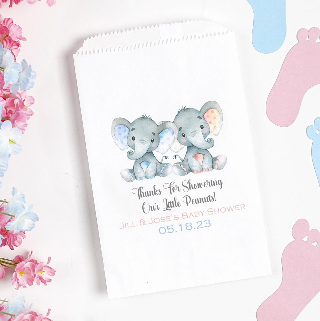 Twins Safari Elephant Baby Shower Favor Bags in 2020