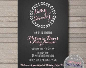 Laurel Wreath Baby Shower Invitation, Wreath Baby Shower Invite, Wreath Invite, Chalkboard Baby Shower, Girl Baby Shower, DIY Printable