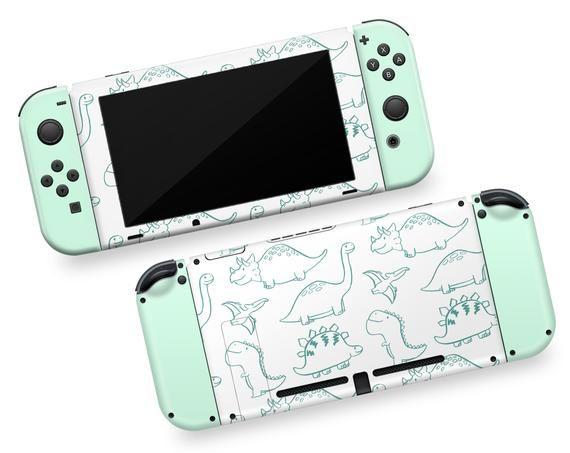 Green Dinosaurs Pattern Nintendo Switch Vinyl Skin Dino Switch Green Color Joy Cons Dinosaur Art Sti