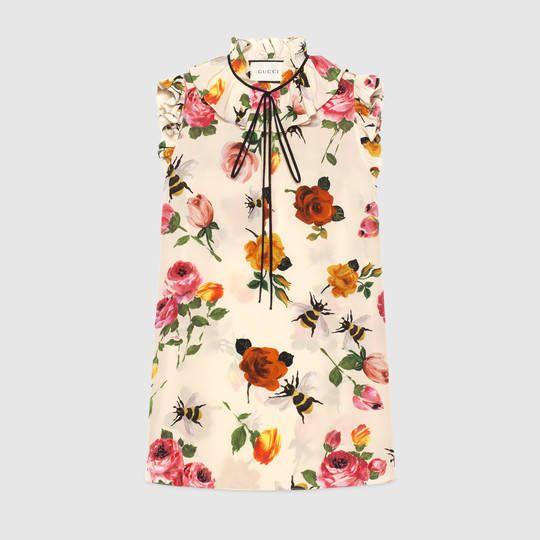 92e190add Gucci Rose print silk top   Shopping :)   Silk, Silk top, Gucci shirts