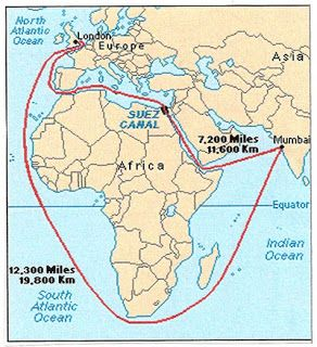 suez canal on africa map
