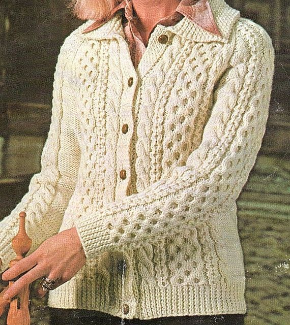 Ladies Aran Cardigan With A Collar Knitting Pattern. PDF | chaquetas ...