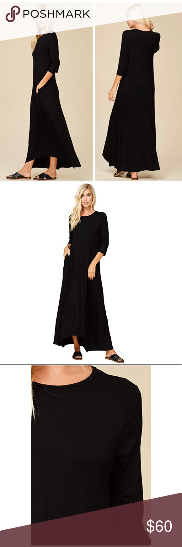 Cora loose sleeve maxi dress black pockets new boutique my