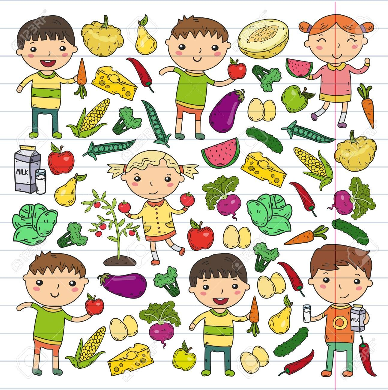 A Kindergarten Nursery Preschool School Kids Eat Healthy Food Boys And Girls With Fruits And Vegetabl Nursery Preschool Children Eating Healthy Eating For Kids