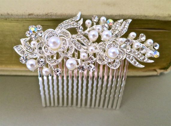 Bridal Hair Comb - Wedding Hair Accessories - Pearl Rhinestone Hair Accessories - Bridal Jewelry White Pearls on Etsy, $45.00