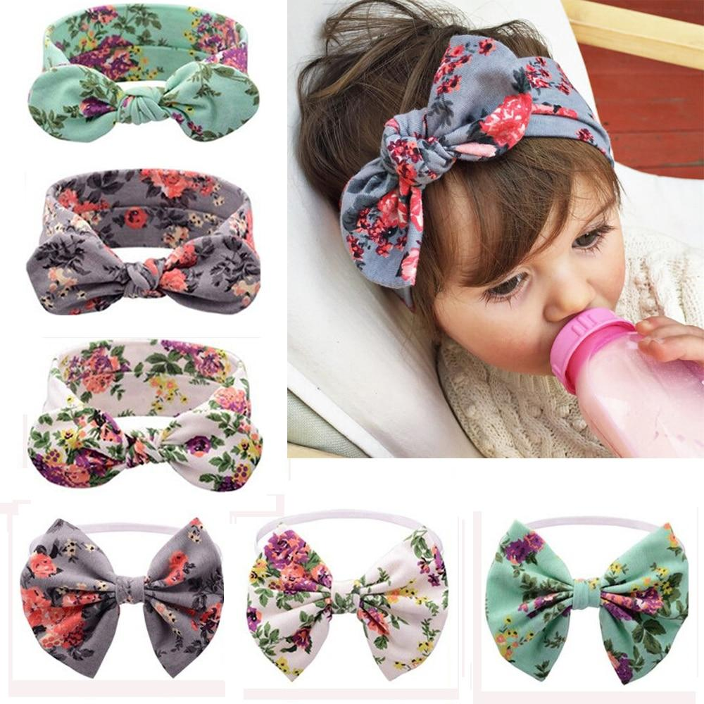 Baby Girl Headband Floral Printed Rabbit Ears Hairband Bow Knot Turban Hair Band