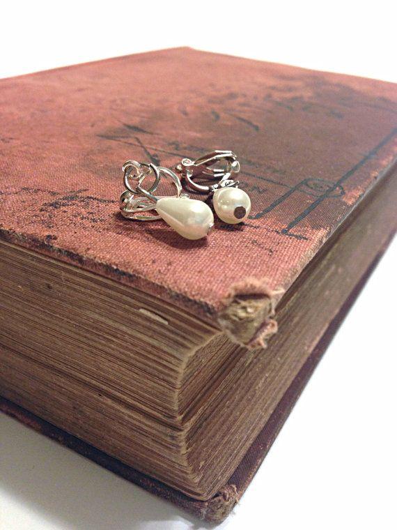 Pearl Earrings  Tear Drop Earrings  Clip On earrings  by Barysto