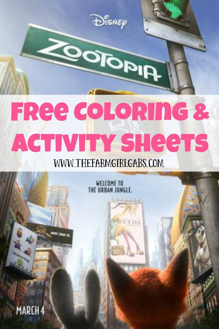 Download These Free ZOOTOPIA Coloring And Activity Sheets Disneys Opens In Theaters On March