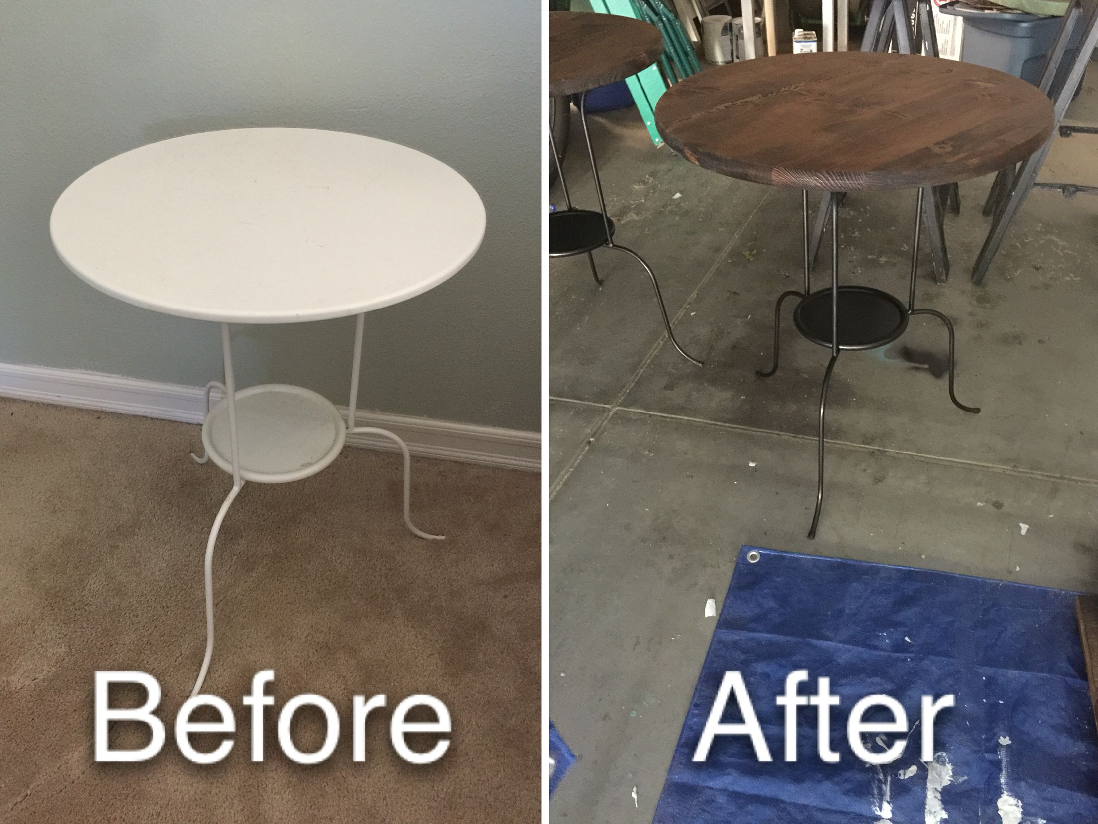 Ikea Lindved Rustic Makeover Oil Rubbed Bronze Spay Paint To The Table And A 23 Inch Round Piece Of Wood Ikea Round Table Furniture Makeover Home Depot Stain [ 1656 x 2208 Pixel ]