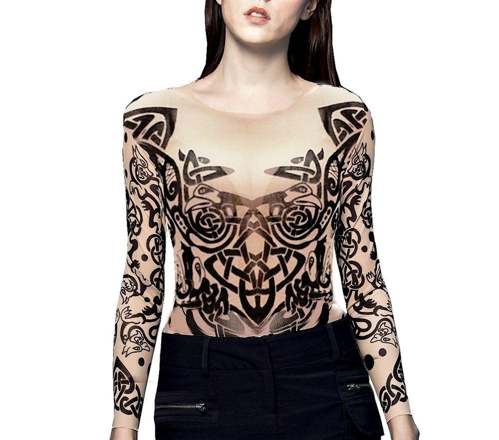 Details about Wild Rose Ladies Tattoo Shirt TRIBAL Full Body  Schlussverkauf