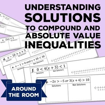 Absolute Value Inequalities Compound Inequalities Algebra 1 Activity Absolute Value Absolute Value Inequalities Inequality