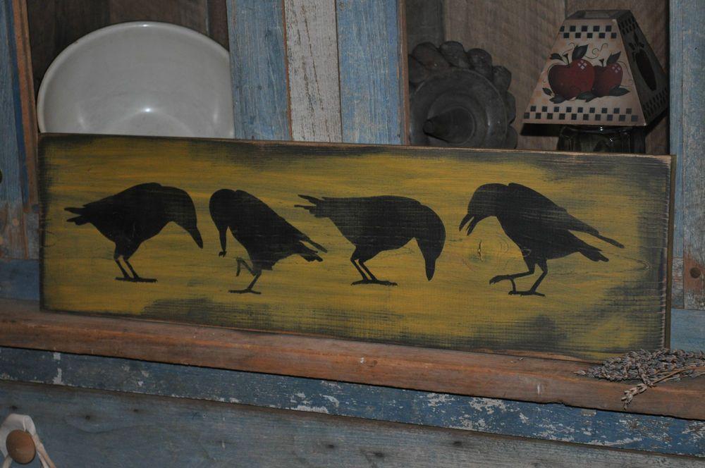 26 Long Wood Sign Primitive Olde Crows Rustic Folk Art