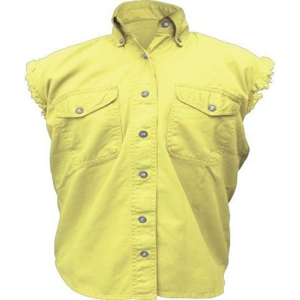 Allstate Cut Off Sleeve Womens Yellow Denim Biker Motorcycle Shirt is made of 100% heavy duty cotton twill classic Yellow denim with two front chest snap pockets, snap down collar, and classic frayed cut off sleeves for club and cruiser style motorcycle riders.