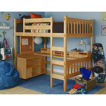 costco: gabriel natural full loft with media cart | loft beds