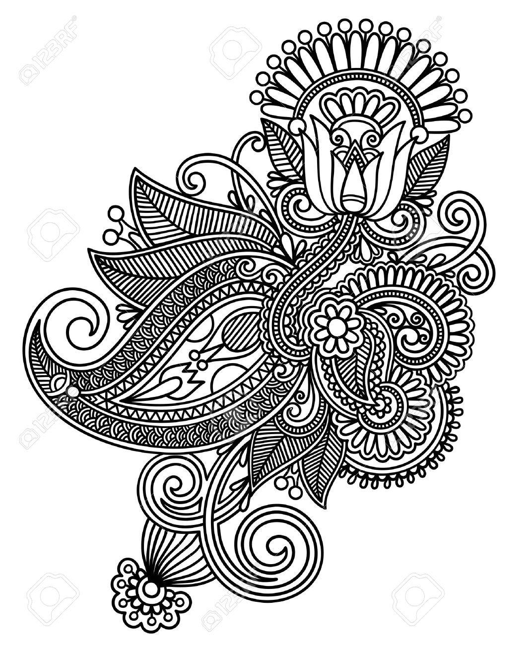 Line Art Design Trend : Hand draw line art ornate flower design stock