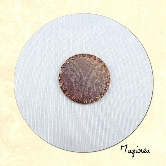 cabochon de soie rond taupe diamètre 2.5 cm C027