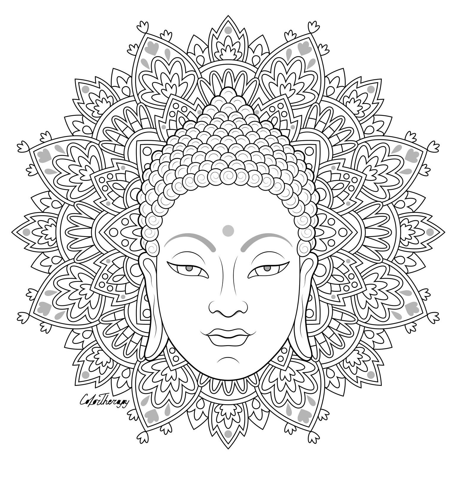 The Sneakpeek For The Next Gift Of The Day Tomorrow Do You Like This One Buddha Face Mandala Coloring Pages Buddhist Art Drawing Mandala Coloring