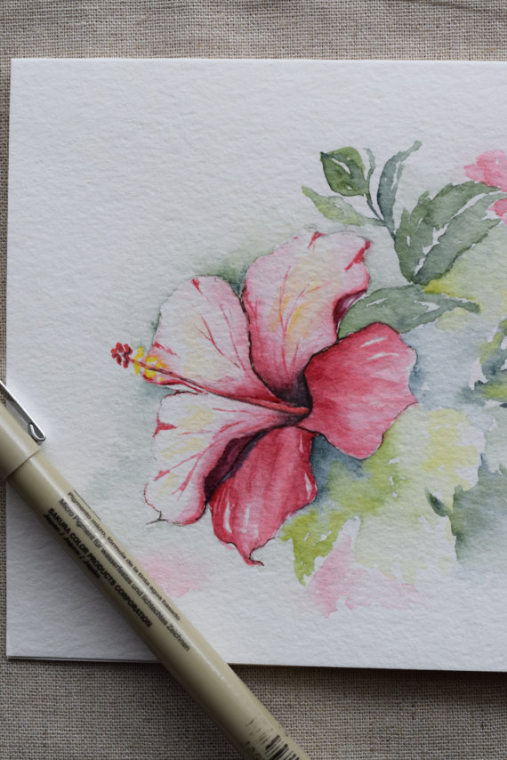 """Pink and Magenta Hibiscus watercolor flowers!  Original or Print--Please indicate when you purchase if you want an original or print. You may only order multiple cards for a print (not for an original). This is a hand-painted watercolor greeting card on 140 lbs. acid free, Strathmore watercolor paper. All the cards are designed and painted by me. Dimension of the card is 5""""x 6⅞ """". Matching envelope included. Original and print are both on strathmore watercolor paper.  This card can also easil..."""