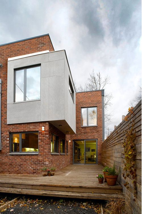 Fachada de ladrillo y concreto fachadas en 2019 casa for Construcciones minimalistas