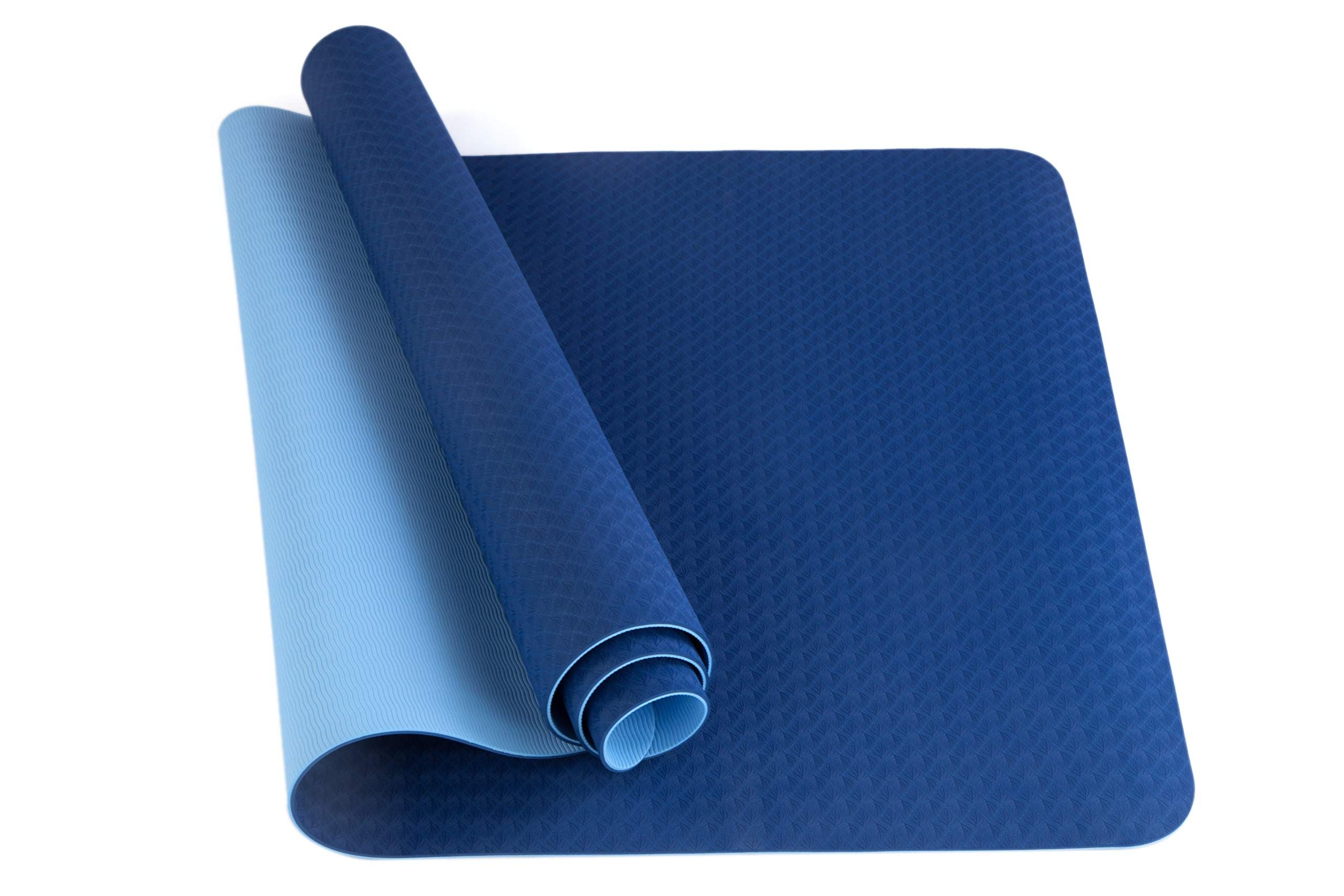 Cambivo Large Yoga Mat Eco Friendly Non Slip Exercise Tpe Mat With Strap For Men And Women 73 X 32 X 1 4 Large Yoga Mat Yoga Mat Mats