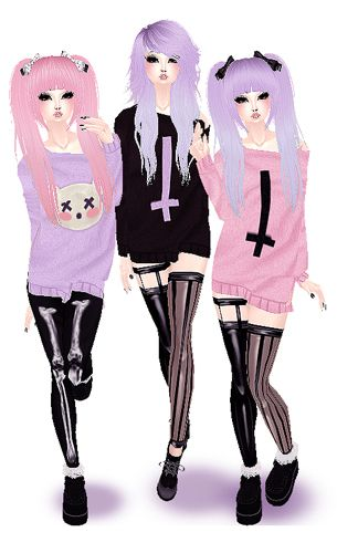Mika Sayo Girl With Pink Hair Tika Menasa Girl With Long Purple Hair Erika Mekono Girl With Purple Pi Girl With Pigtails Pastel Goth Fashion Kawaii Goth