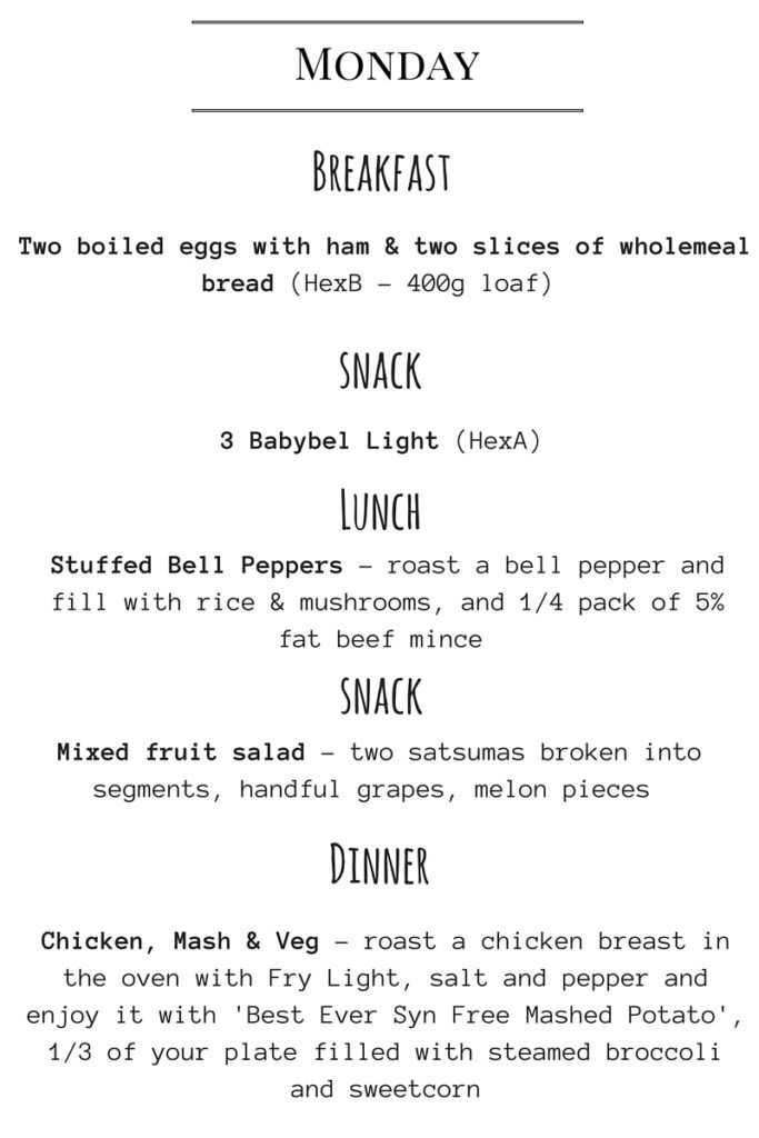 Seven Day Meal Plan SP foods Slimming world diet, Slimming world