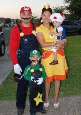 coolest homemade mario luigi toad and princess daisy group costume - Koopa Troopa Halloween Costume