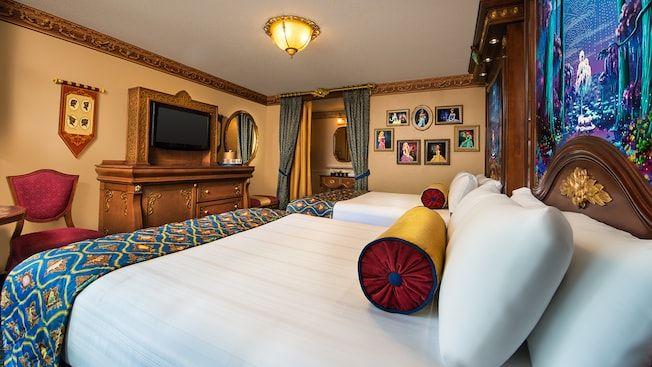 royalthemed bedroom 2 beds elegant dresser with wood