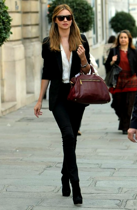 97ae4da3525 Miranda Kerr Black Blazer And Trousers StyleChi