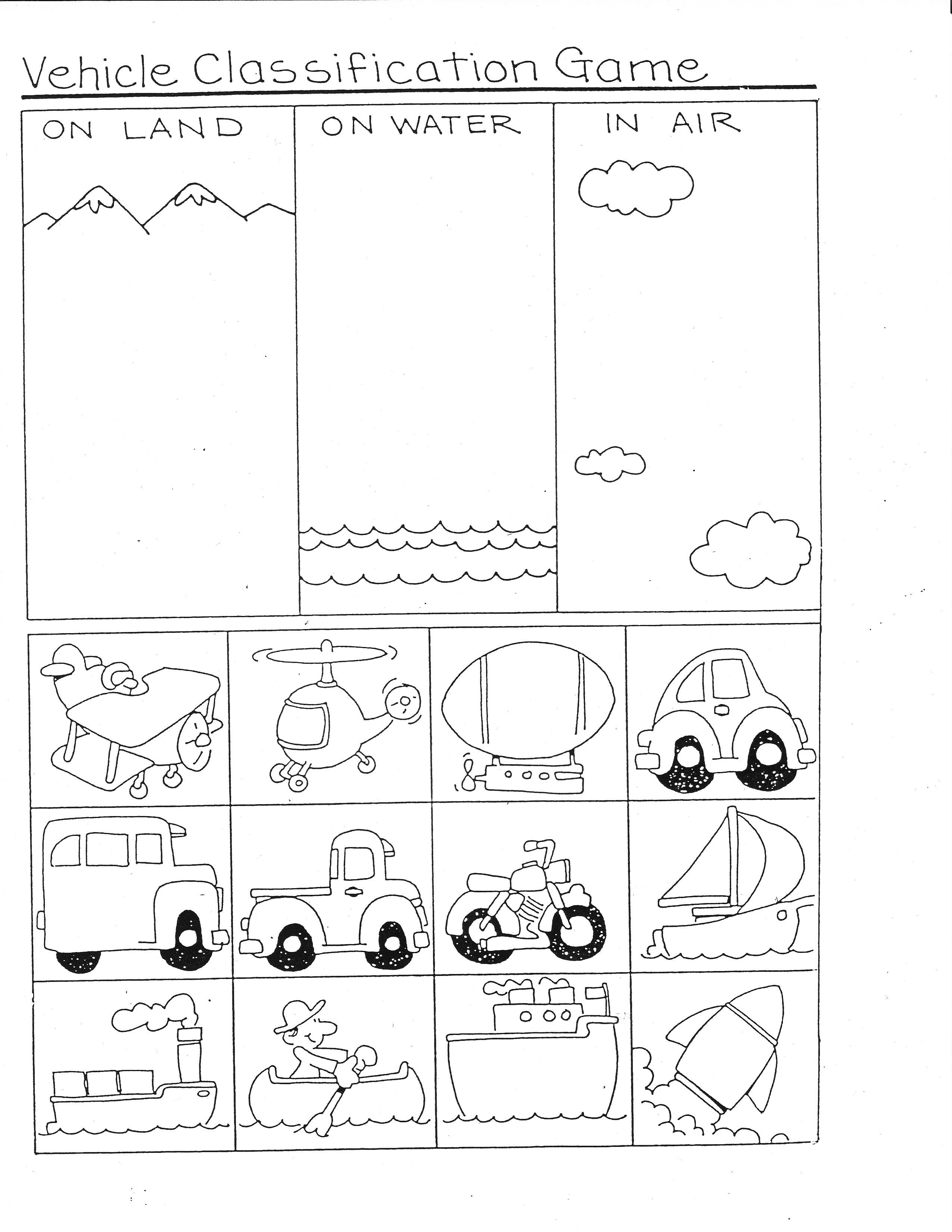 worksheet Sorting Worksheets For Kindergarten transportation ideas for math pocket charts unit preschool theme printables had a set of small plastic vehicles that were different colors