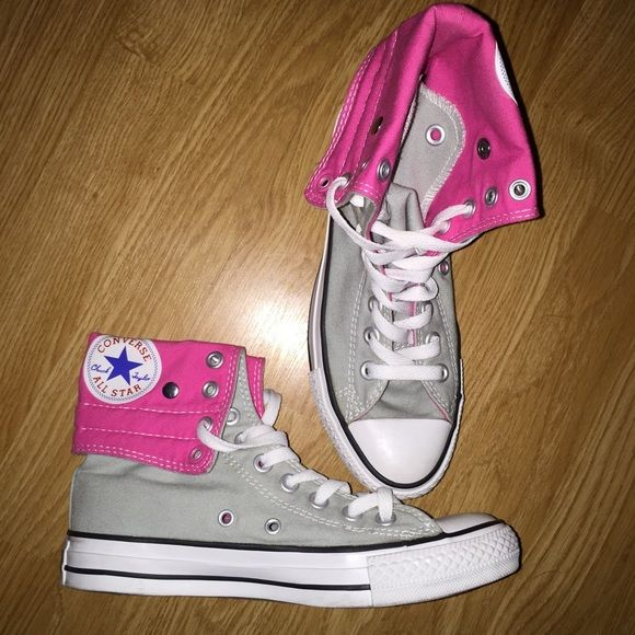 5ac3d963d323 Pink   Gray Converse Sneakers Size 4.5 Mens. See tag. Excellent like new  condition. Can be worn folded down or super high tops. Converse Shoes  Sneakers