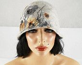 Felted Hat Retro Hat Cloche grey Flatter hat Art Deco wool hat wearable art wool felt nunofelt nuno felt silk eco fiber art. $119.00, via Etsy.