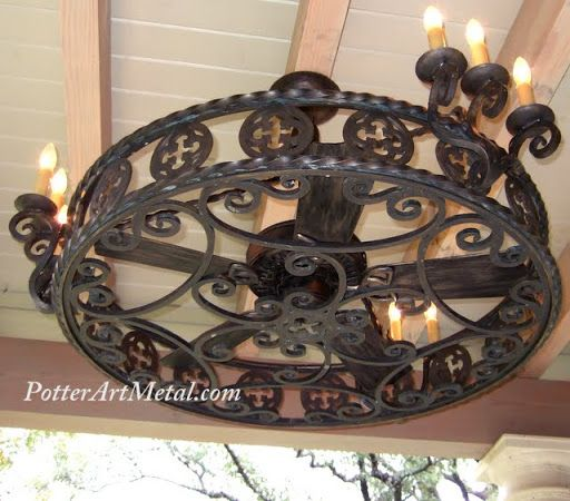 Gothic ceiling fan enclosure wrought iron gothic in style fan gothic ceiling fan enclosure wrought iron gothic in style fan chandelier enclosure or as we like to call it a fandelier httppotterartmetal aloadofball Gallery