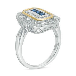 Zales Princess-Cut Blue Sapphire and 1/10 CT. T.w. Diamond Vintage-Style Ring in Sterling Silver and 14K Gold nm1UK