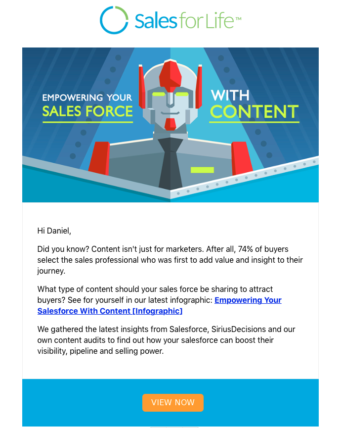 SalesforLife email promoting infographic - Empowering Your Salesforce With Content
