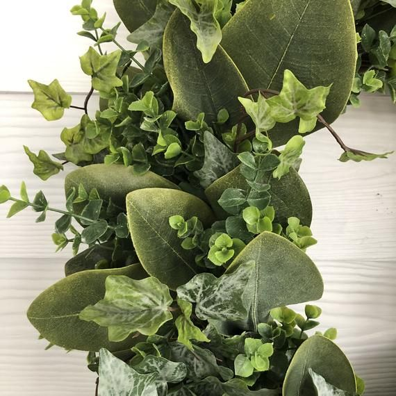 Photo of Spring Wreath for Front Door, Magnolia Leaf, Ivy and Eucalyptus Wreath, Greenery Wreath, Everyday Wr