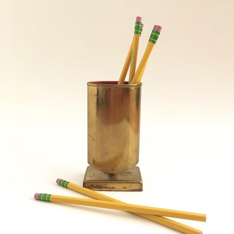 Brass Pencil Holder Vintage Desk Decor Office Accessory
