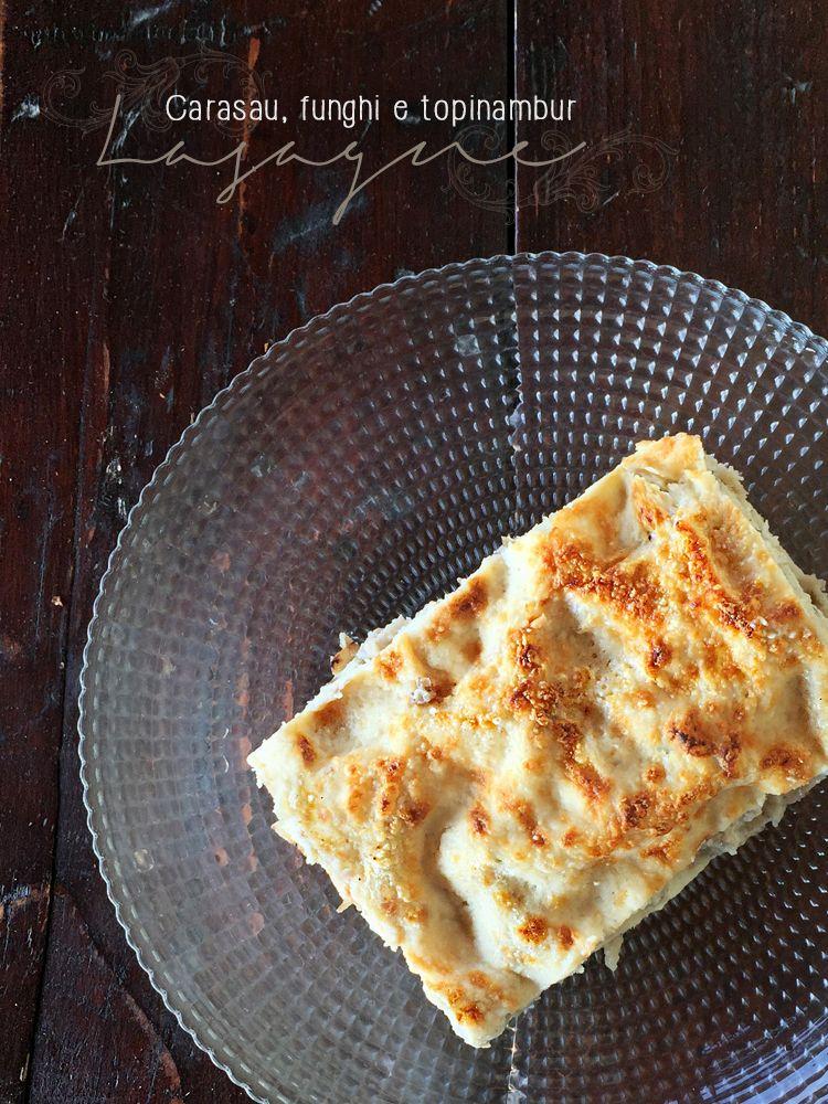 lasagne di pane carasau con crema di topinambur * Jerusalem artichoke lasagna #vegan #lasagne #carasau