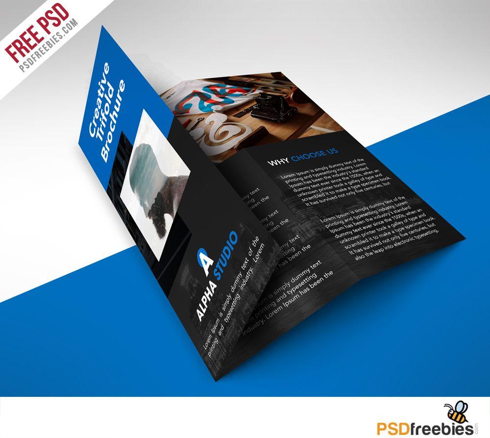 Creative Agency Trifold Brochure Free PSD Template Psd Templates - Tri fold brochure template photoshop free