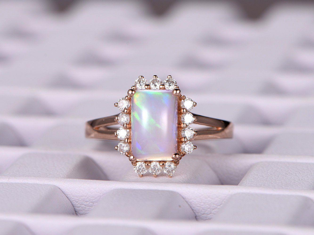Emerald Cut Africa Opal Engagement Ring VS Diamond Wedding 14K Rose Gold 7x9mm - 4.25 / 14K White Gold