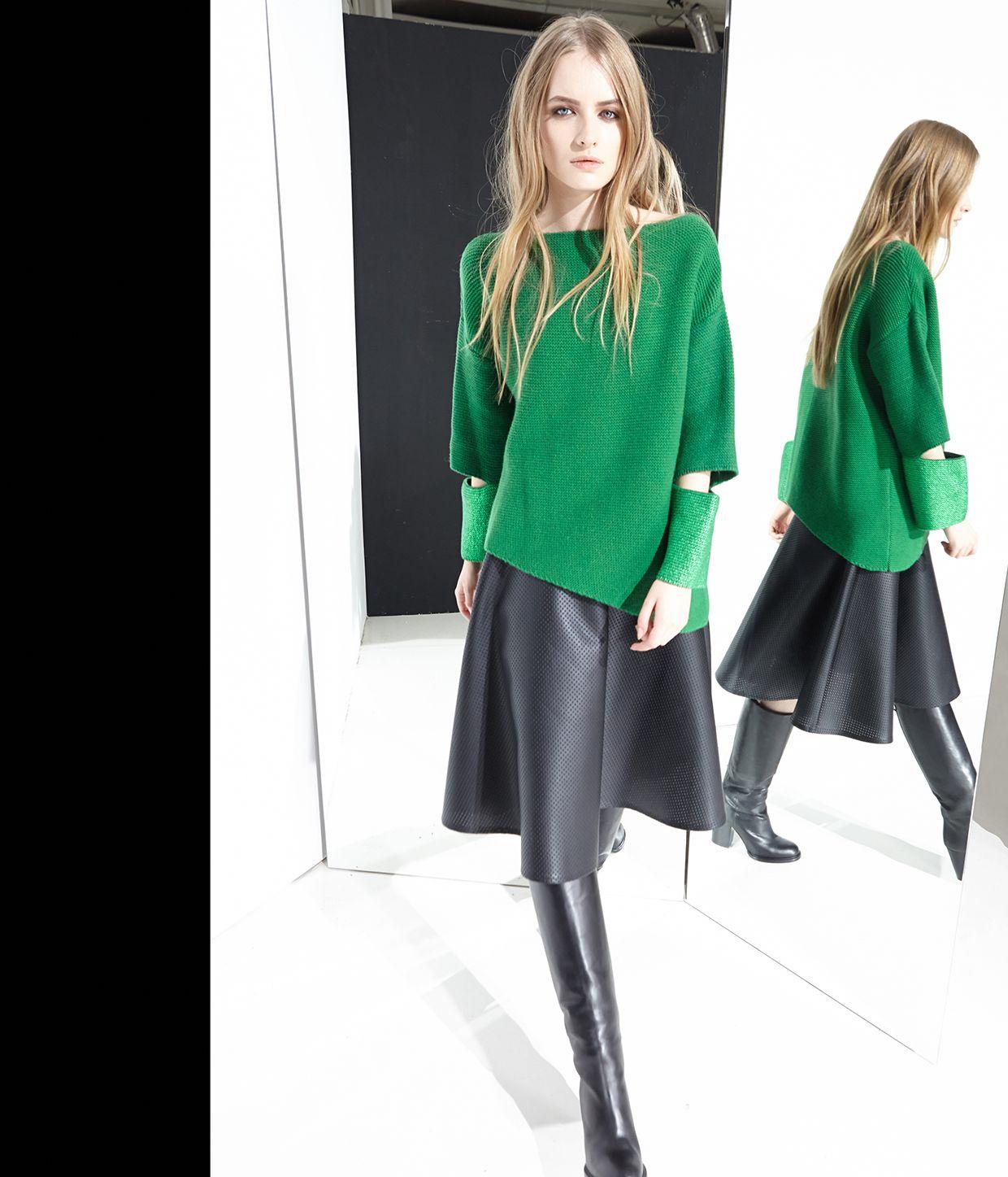 nude fashion abbigliamento knitwear maglieria knit-sweater lamina skirt eco-leather moda style