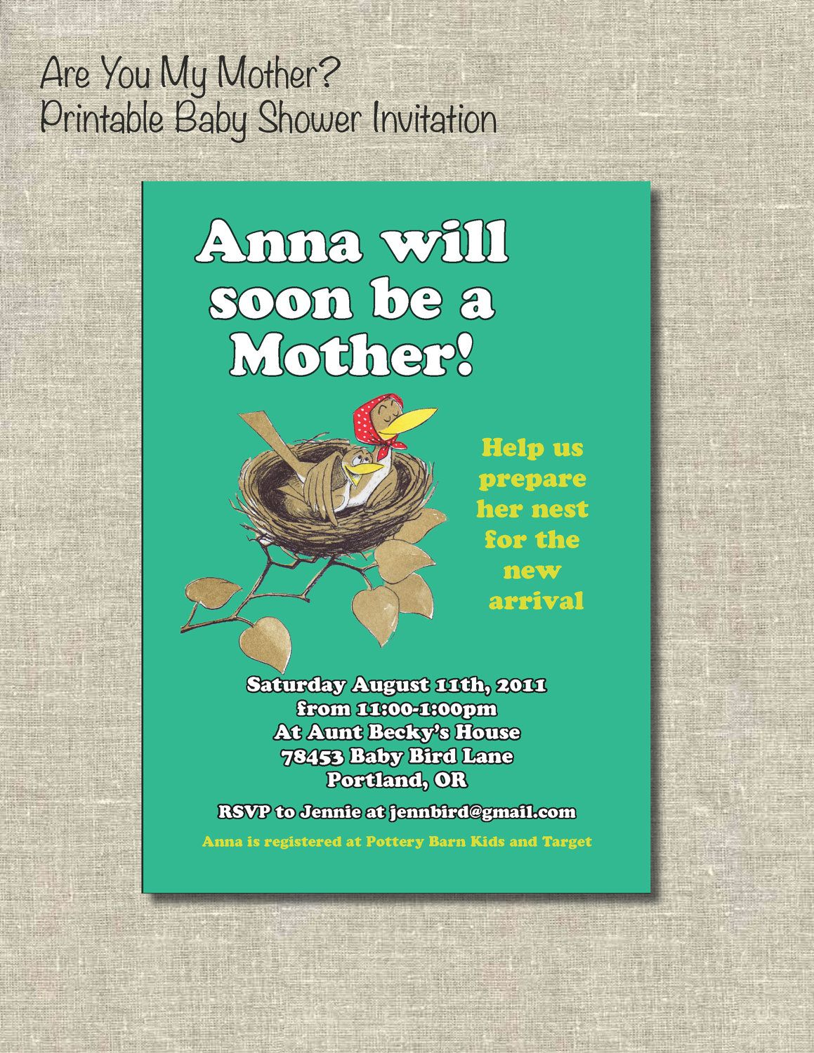 When To Register For Baby Shower Part - 45: Book Themed Baby Shower: Are You My Mother Inspired Invitations- I LOVED  This Book