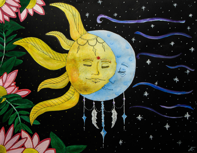 Yin&Yang, Foam board print, Acrylic painting print, Wall decor, Moon ...