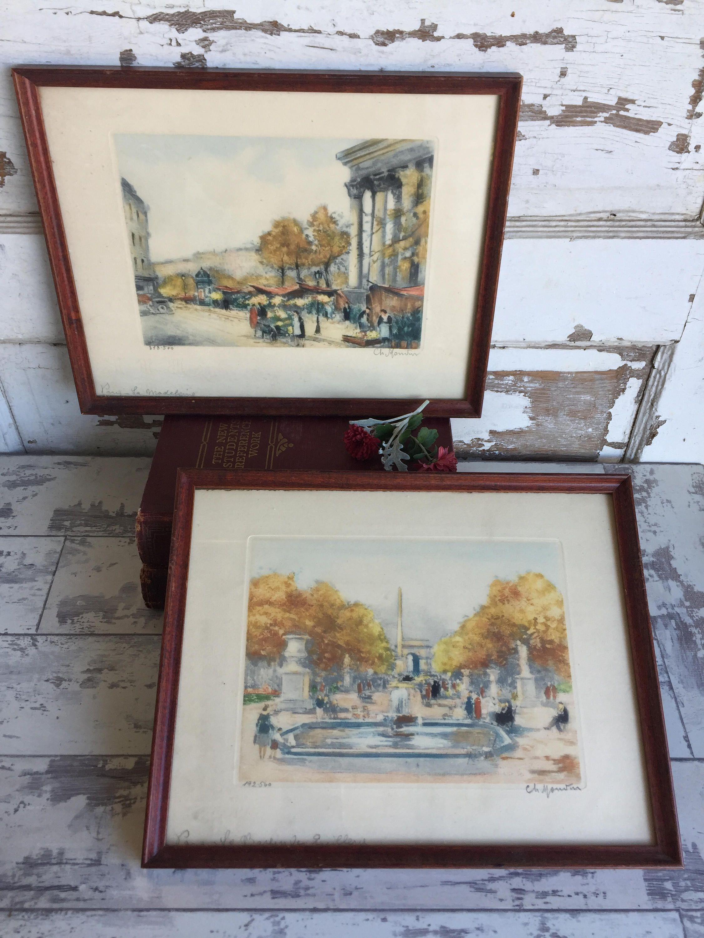 Vintage Engraving Prints French Scenes Limited Edition Signed Colored Framed