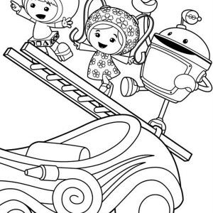 team umizoomi milli and geo with bot climb with ladder in team umizoomi coloring page - Team Umizoomi Bot Coloring Pages