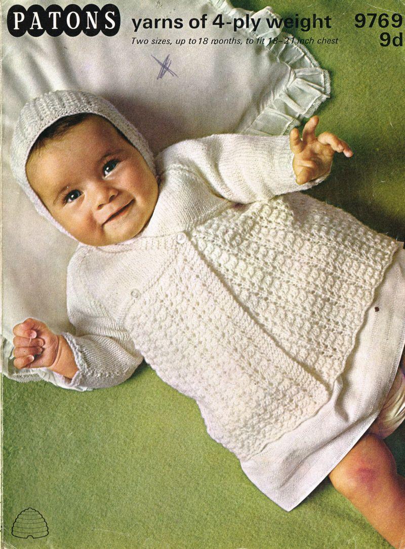 Patons 9769 - vintage baby matinee coat knitting pattern https://www ...